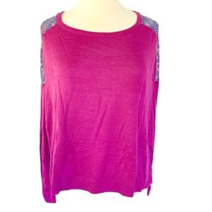 Kirra Purple Sheer Back Long Sleeve Top Medium